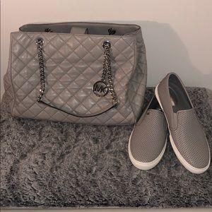 Michael Kors Gray handbag and Shoes